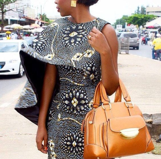Ankara Cape Dress ~African fashion, Ankara, kitenge, African women dresses, African prints, Braids, Nigerian wedding, Ghanaian fashion, African wedding ~DKK: