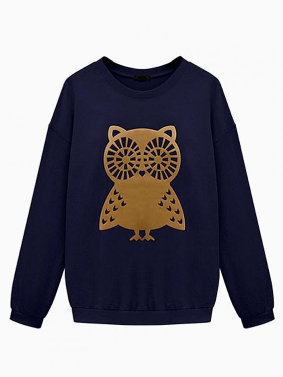 Navy Owl Print Oversized Sweater #jumper #winter #animal #comfy