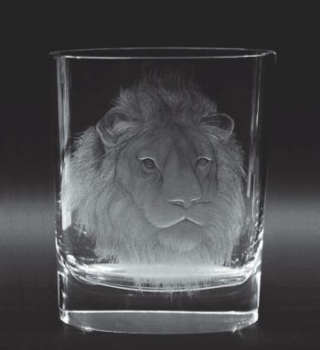 Nature 2268, hand cut and engraved vase, motif The Lion » Moser glassworks - Luxury Bohemian Crystal Glass