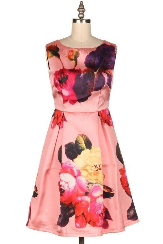 FLORAL SATIN FIT N FLARE DRESS  #13R-53080