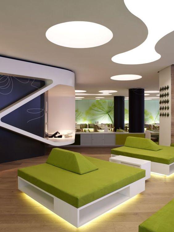 Creative restaurant light green interior design