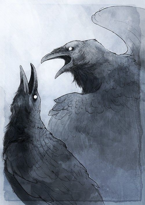 "In Norse mythology, Huginn (""thought"") & Muninn (""memory"") are a pair of ravens that fly all over the world, Midgard, to bring information to the god Odin. In the Poetic Edda, a disguised Odin expresses that he fears that they may not return from their daily flights. The Prose Edda explains that Odin is referred to as ""raven-god"" due to his association with Huginn & Muninn, who are described as perching on his shoulders. Odin gave the ravens the ability to speak."