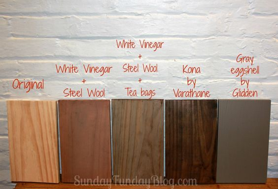 Variations of Stain - 2 vinegar washes to age wood [by SundayFundayBlog.com]