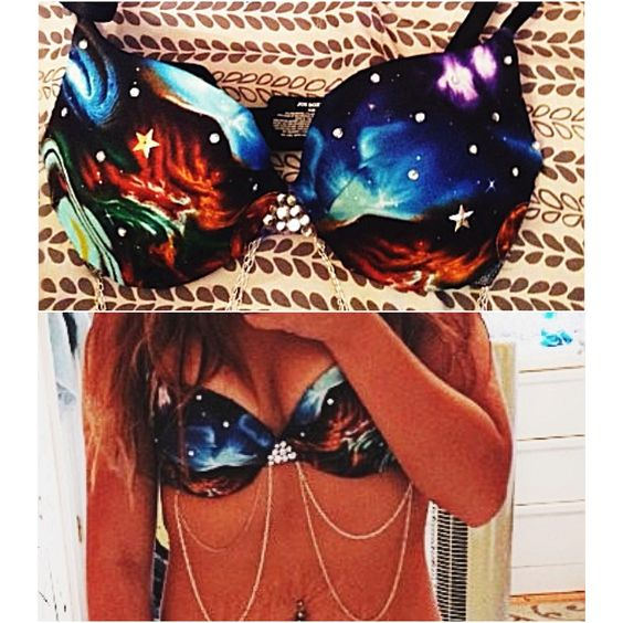 Galaxy Rave or Festival Bra with Chains Buy galaxy print fabric and hot glue it onto a bra! Easy as that!