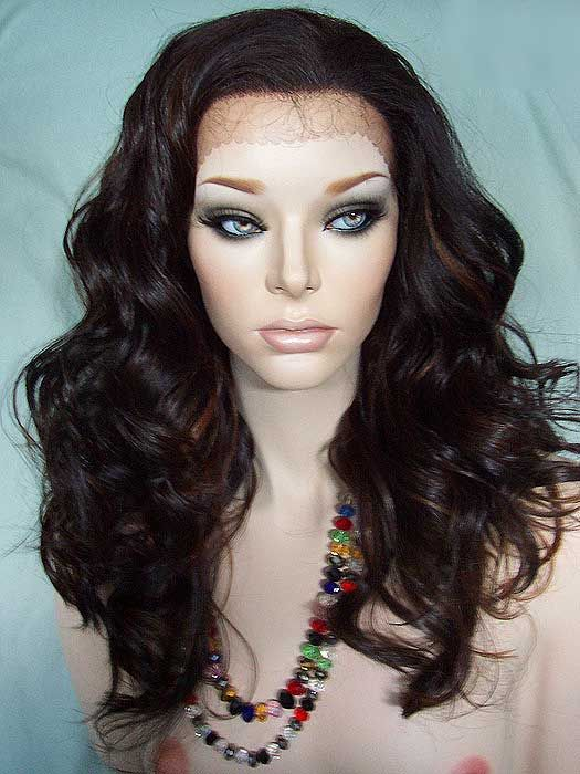 Beautiful Lace Front Wig in Dark Brown with Medium Auburn Highlights. Stylish and Sexy!