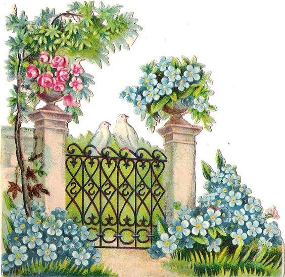 Oblaten Glanzbild scrap die cut chromo Taube dove Garten garden pigeon fence: