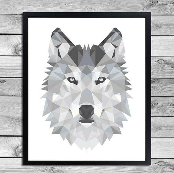 digital plakat geometrische wolf illustration von designclaud auf geometric animal. Black Bedroom Furniture Sets. Home Design Ideas