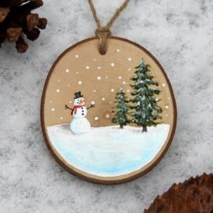 Merry Christmas Wood slice hand painted and glittered ornament