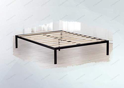 Colibrox Contemporary And Cool Aesthetic Wood Slat Metal Bed Frame