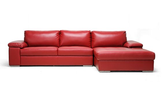Dawson Red Leather Modern Sectional Sofa | Affordable Modern Furniture in Chicago
