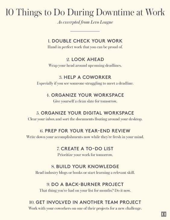 10 Things to Do During Downtime at Work