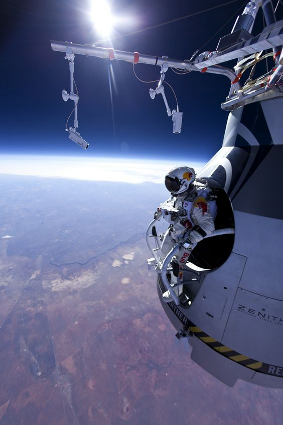 Felix Baumgartner jumped from an altitude of 22km. He is attempting to break the speed of sound in freefall. Badass.