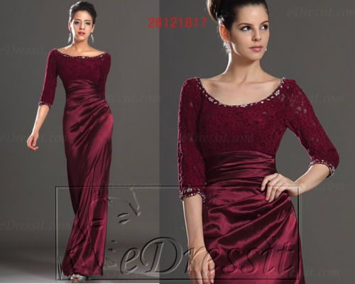 Details about eDressit New Burgundy Long Sleeve Party Dress Prom ...