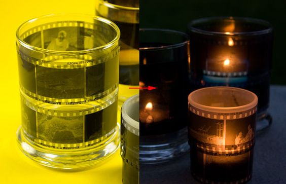 If you ever find yourself with some unwanted negatives on your hands, you can upcycle them into creative film candle holders! All you need is a glass candle holder and some way to fix your negatives to it.
