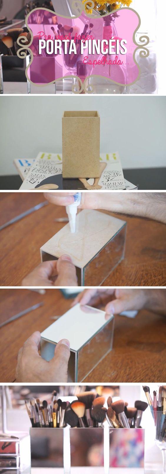 Porta pincél espelhado para deixar o ambiente mais glamuroso. A caixinha é facilmente encontrada em lojas de artesanato por um preço muito barato e o espelho pode ser feito na medida em uma vidraçaria. Genial! http://www.janasabrina.net/