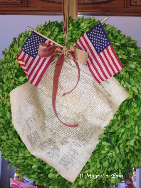 Festive 4th of July wreath with a copy of the Declaration of Independence.