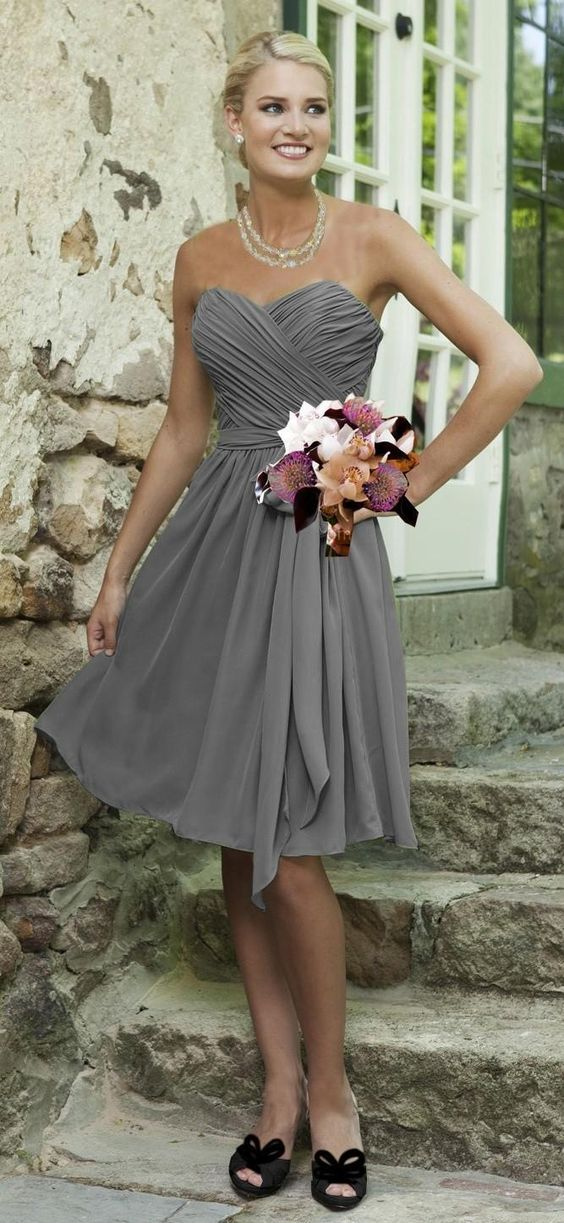 Simple Cheap Silver Grey Bridesmaid Dresses Knee Length Chiffon Sweetheart A-Line Open Back Ruched Short Prom Dress Wedding Party Gowns, $65.03 | DHgate.com