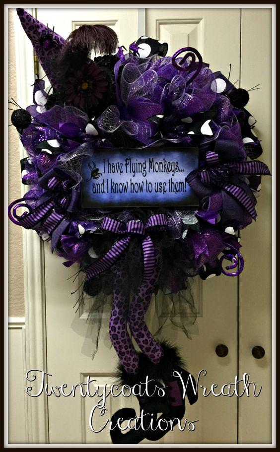 Purple leopard witch deco mesh wreath by Twentycoats Wreath Creations (2016)