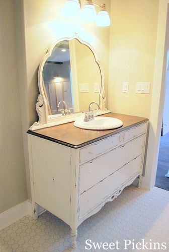 Dresser made into bathroom vanity i would put the sink either to the right or left so you only Used bathroom vanity with sink