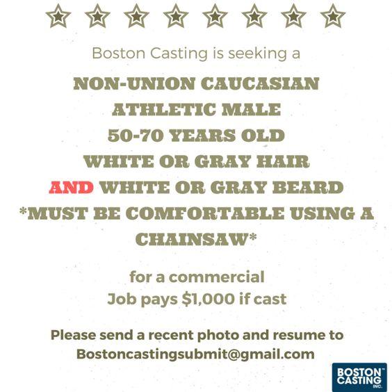 Job $1000 Commercial Casting Call for Bearded Guys
