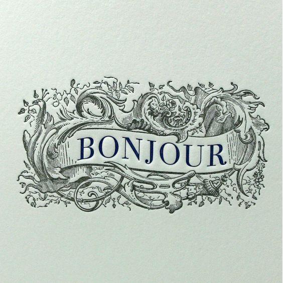 """Bonjour"" letter pressed greeting card by Letterpress Delicacies"