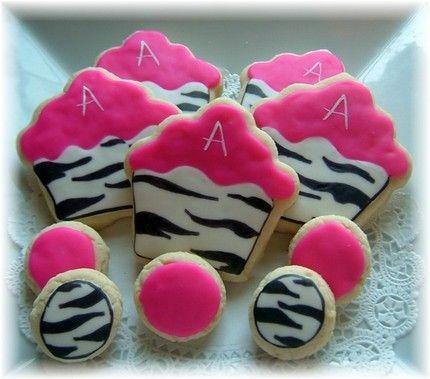 Zebra print cupcake cookies