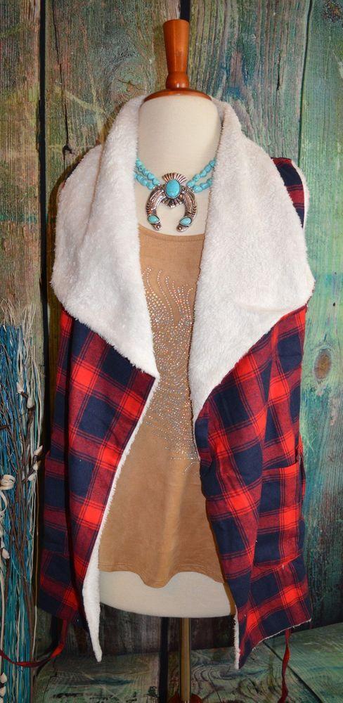 Cowgirl VEST Fleece Plaid Western Fall Gypsy Winter SOFTEST Shawl Collar nwt S…