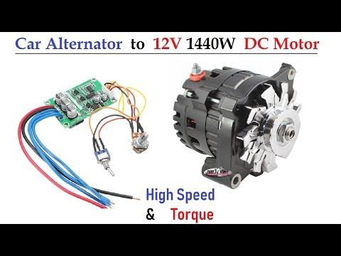 Wow Car Alternator As Dc Motor With 12v Ups Battery High Speed Torque Using Bldc Controller Youtube Car Alternator Alternator Electric Motor For Car