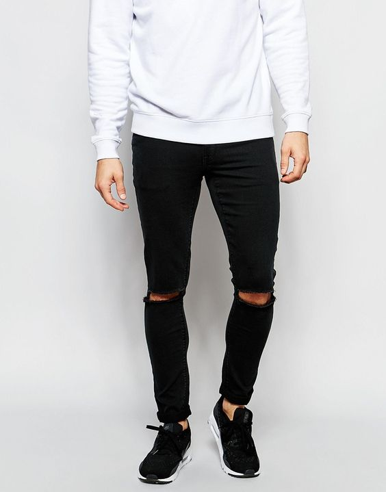 Image 1 of ASOS Extreme Super Skinny Jeans With Knee Rips In Washed Black