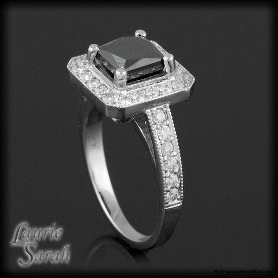 Black White Diamond Engagement Ring My
