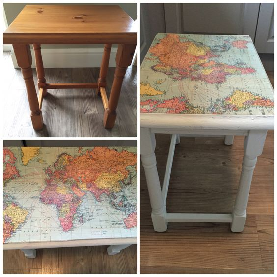 Nest of tables upcycled. Cavallini world map wrapping paper Decoupage Annie Sloan old white chalk paint