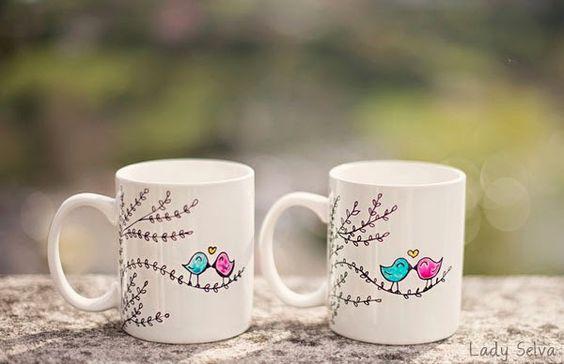 Adictaaloscomplementos. Tazas personalizadas pintadas a mano. Regalos de boda