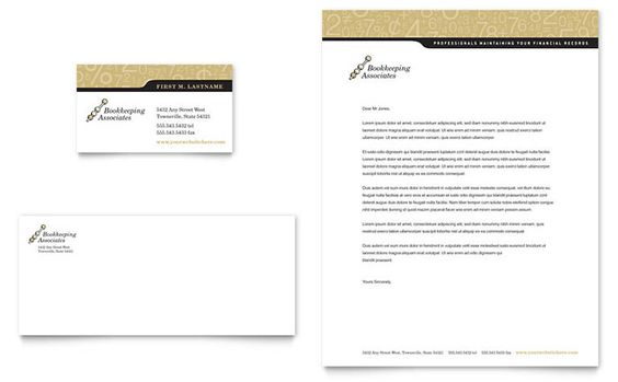 Bookkeeping and Accounting Services Business Card and Letterhead - catering business plan template