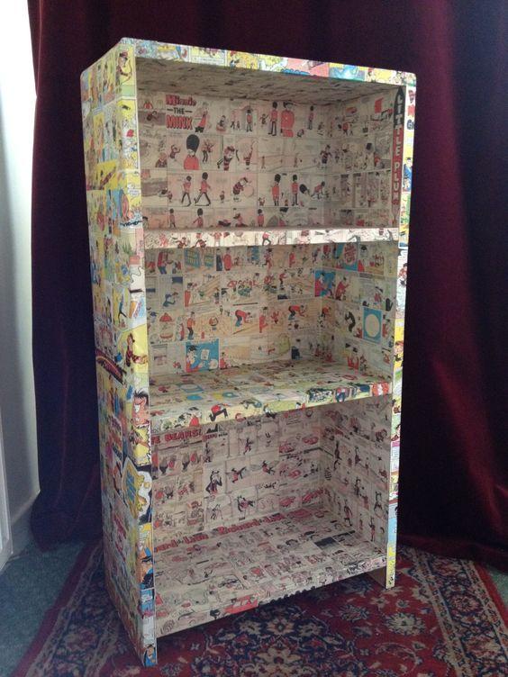 Decoupage Comic Bookcase Diy Pinterest Decoupage