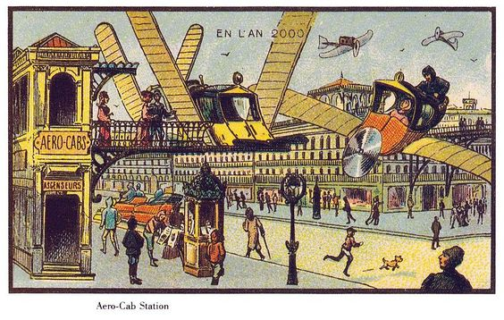 France in the Year 2000 (XXI century) – a series of futuristic pictures by Jean-Marc Côté and other artists issued in France in 1899, 1900, 1901 and 1910. Originally in the form of paper cards enclosed in cigarette/cigar boxes and, later, as postcards, the images depicted the world as it was imagined to be like in the year 2000.
