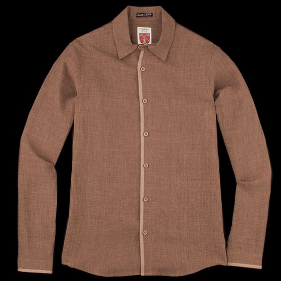 UNIONMADE - Frank Leder - Linen Shirt with Border Trim in Brown