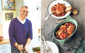 Paul Merrett and his paprika chicken casserole, right