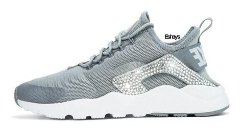 White or Grey Nike Air Huarache Ultra with Bling | Eshays, LLC