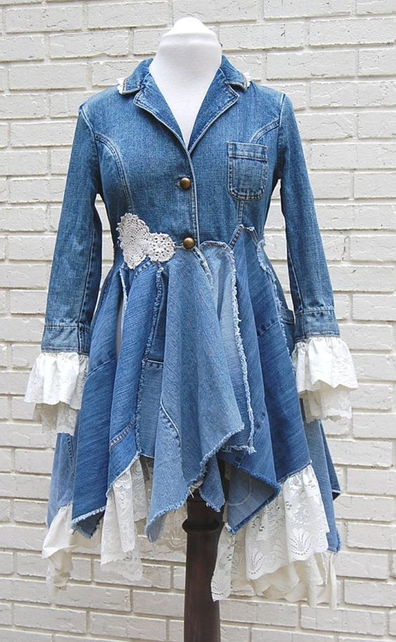 Boho Denim Jacket Coat Lace Blue Jean Long by GallimaufryClothing