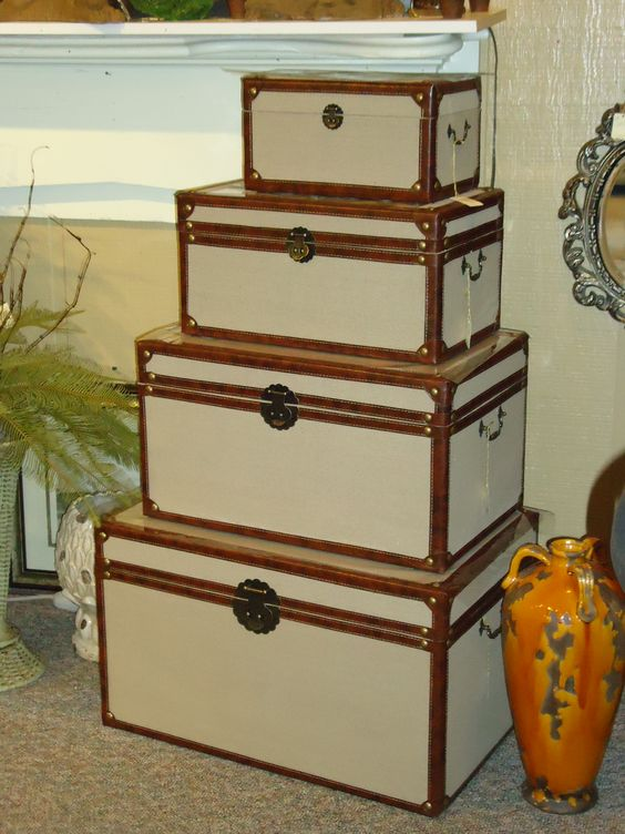 """Recall fond memories of past travels when you welcome this """"Tower of Trunks"""" into your home! This look is not only a unique addition to your decor, it's also functional because the trunks can be used to store blankets, magazines, photographs, board games, and much, much more! The Village Shoppes offers many styles of trunks to choose from.: Style, Thing For Boxes, Gotta Thing, Travel"""