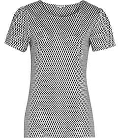 Womens Black/lux White Printed Jersey  Top - Reiss Delore