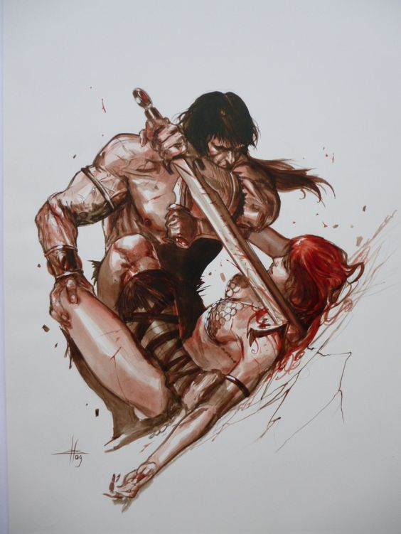 """alexhchung: """" Conan the Barbarian versus Red Sonja by Gabriele Dell'Otto """""""
