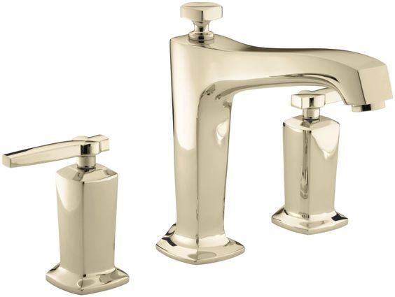 Kohler K-T16237-4 Margaux™ Bath or Deck Mount Bath Faucet Trim with Lever Handle French Gold Faucet Roman Tub Double Handle