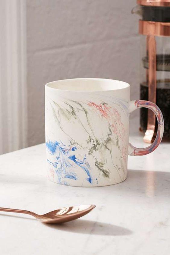 Slide View: 1: Rainbow Marble Mug