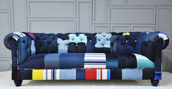 Denim Chesterfield Patchwork Sofa House Pinterest Mattress Covers Chesterfield And Mattress