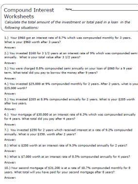 Worksheets Compound Interest Worksheet compound interest problems worksheet with answer key pdf 20 scaffolded