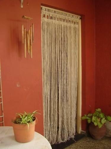 Cortina de puerta en macrame tejido en hilo estilo rustica - Tejidos de cortinas ...
