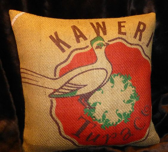 """Kissenbezüge - Kaffeesackbezug """"KAWERI"""", ca.50 x 50 cm - ein Designerstück von vansten-design bei DaWanda"""