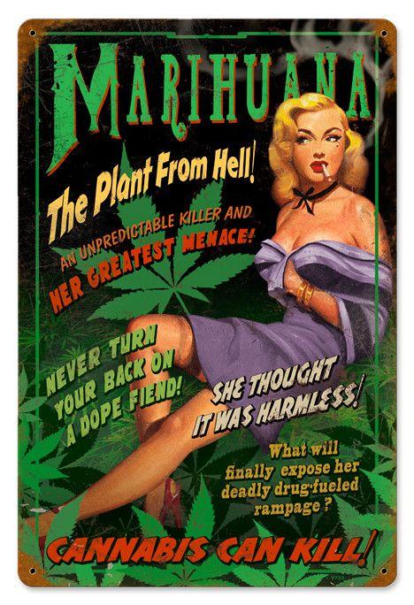 Vintage Anti Marijuana Propaganda Poster