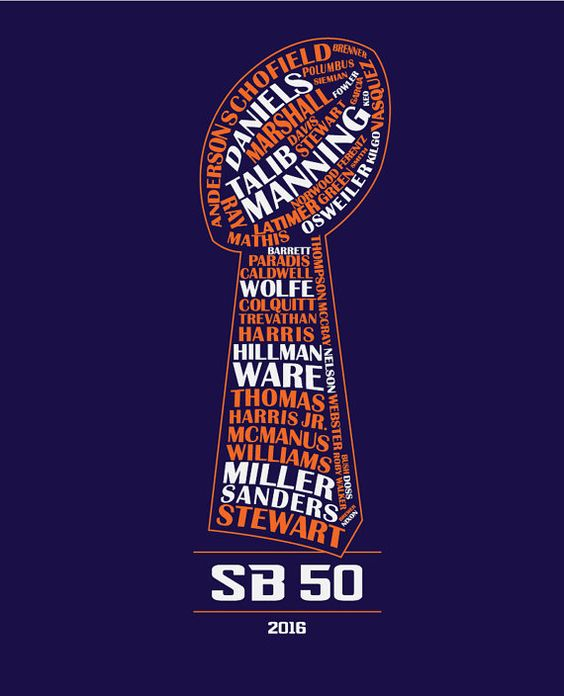 Denver Broncos Super Bowl 50 Team Typography T-shirt by BronColos